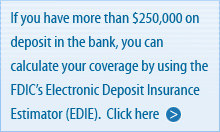 If you have more than $25,000 on deposit in the bank, you can calculate your coverage by using the F D I C's Electronic Deposit Insurance Estimator (E D I E). Click here.